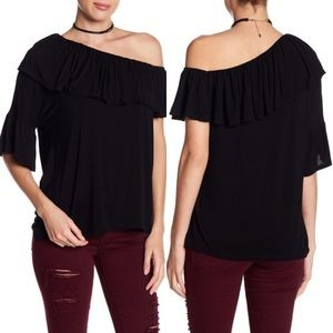 NWT Paige Black Pax One-Shoulder Ruffle Top XS